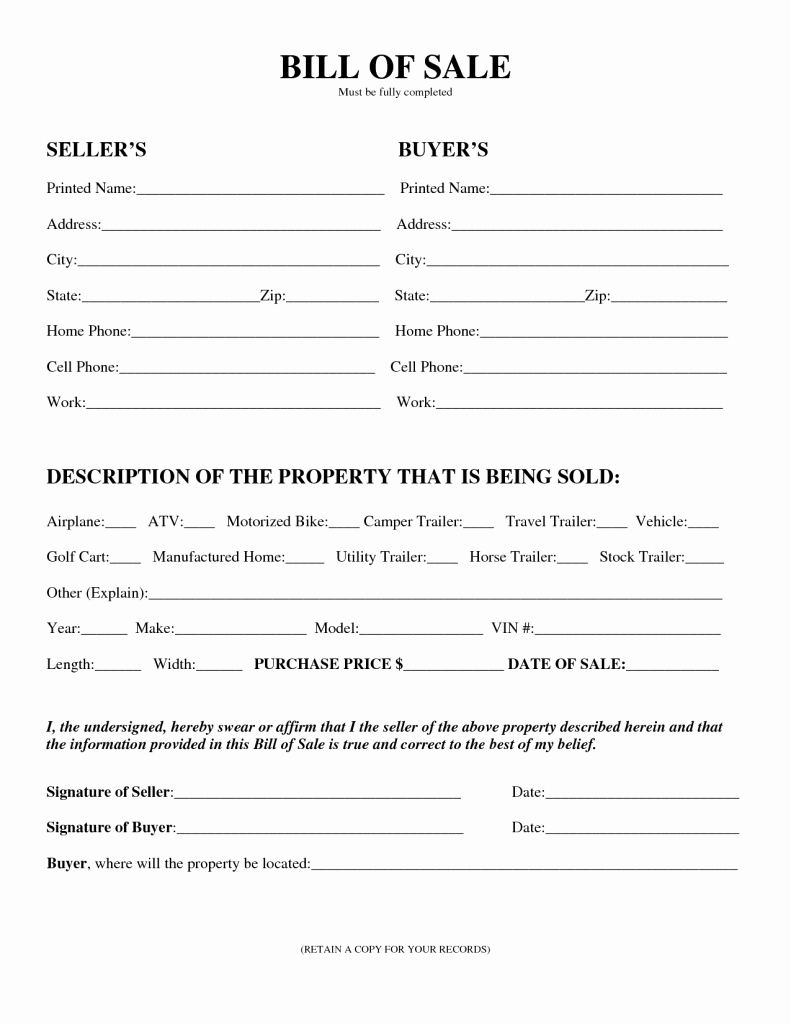 Bill Of Sale Generic form Fresh Free Printable Motorcycle Bill Of Sale form Generic