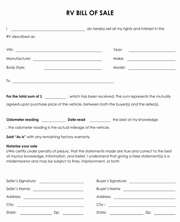 Bill Of Sale Generic form New Free Printable Camper Bill Of Sale form Free form Generic