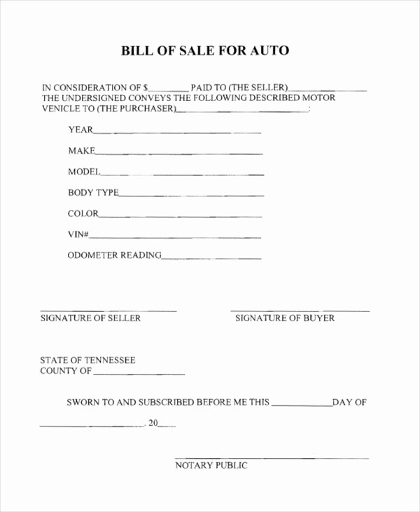 Bill Of Sale Generic form New Sample Generic Bill Of Sale form 10 Free Documents In Pdf