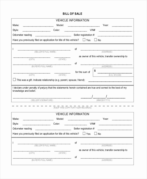 Bill Of Sale Generic form Unique Sample Generic Bill Of Sale form 10 Free Documents In Pdf