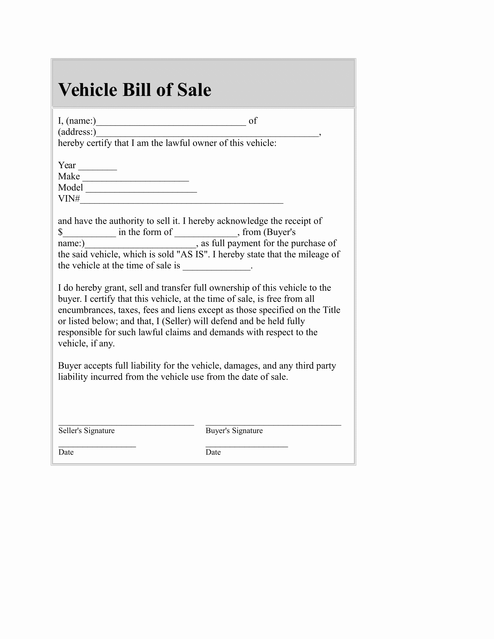 Bill Of Sale Illinois Car Awesome Simple Bill Sale for Car Template Luxury Generald and