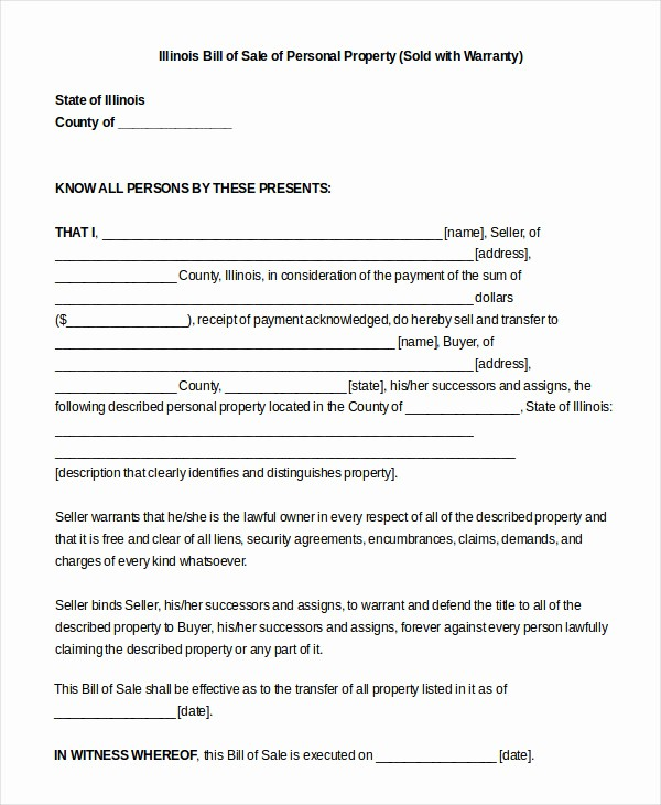 Bill Of Sale Illinois Car Best Of Printable Blank Bill Of Sale Template 9 Free Word Pdf