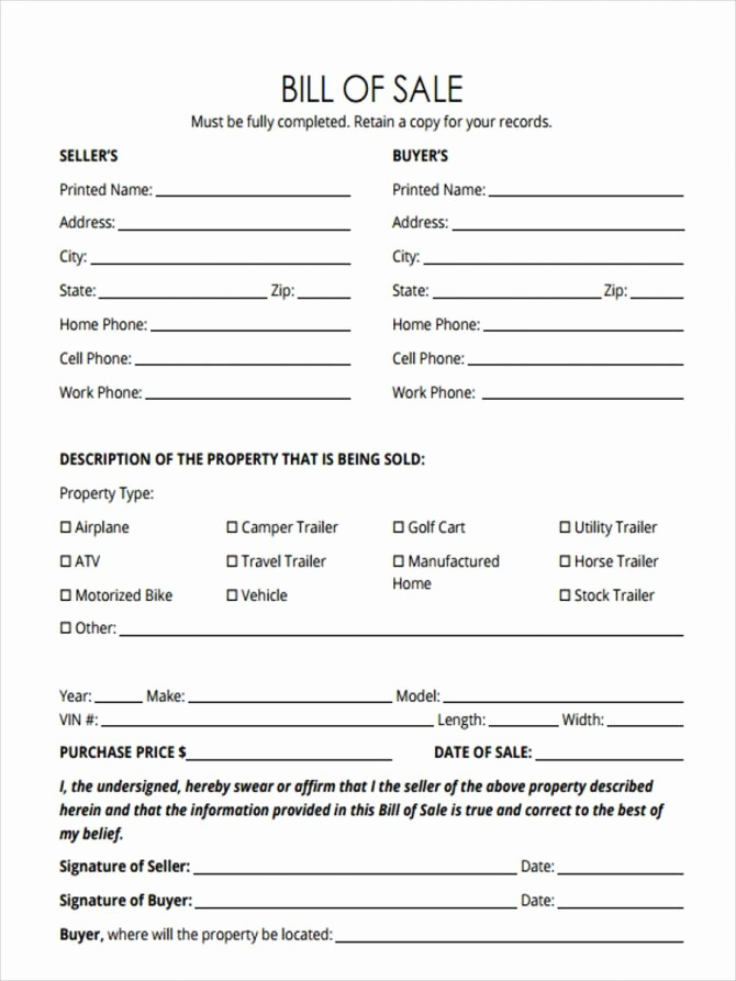 Bill Of Sale Illinois Car Fresh Sample Bill Sale Printable for Rv form forms and
