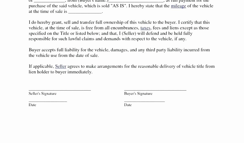 Bill Of Sale Illinois Car Unique Bill Sale Template with Sample Blank Vehicle Fillable