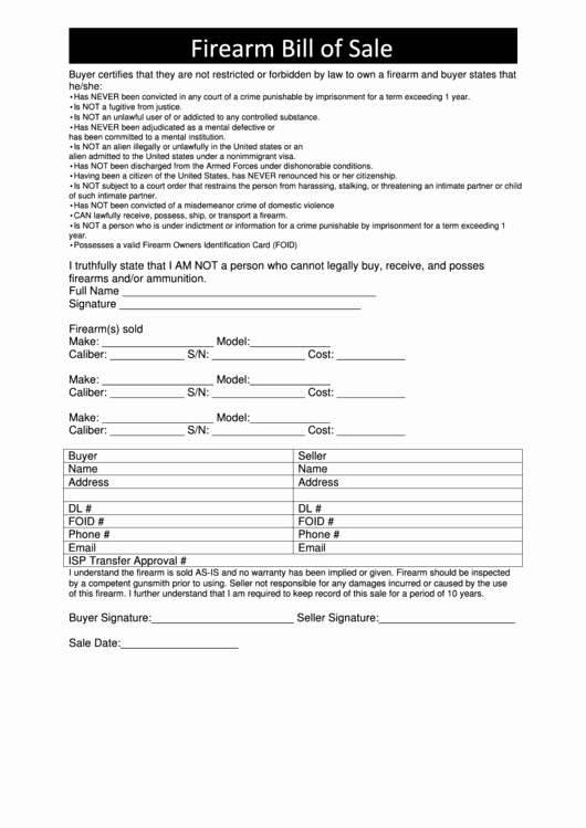 Bill Of Sale Illinois Pdf Awesome Firearm Bill Sale Illinois Version Printable Pdf