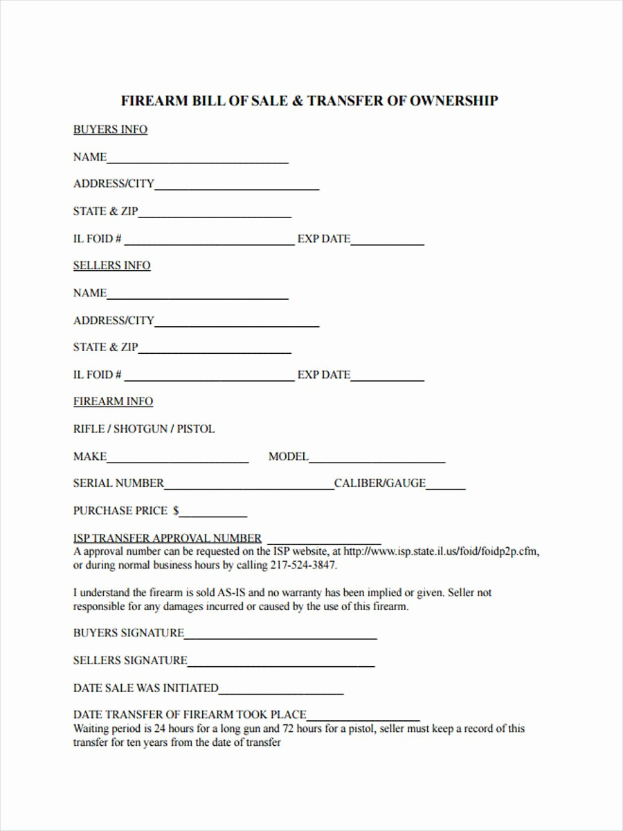 Bill Of Sale Illinois Pdf Best Of 6 Firearm Bill Of Sale form Sample Free Sample Example