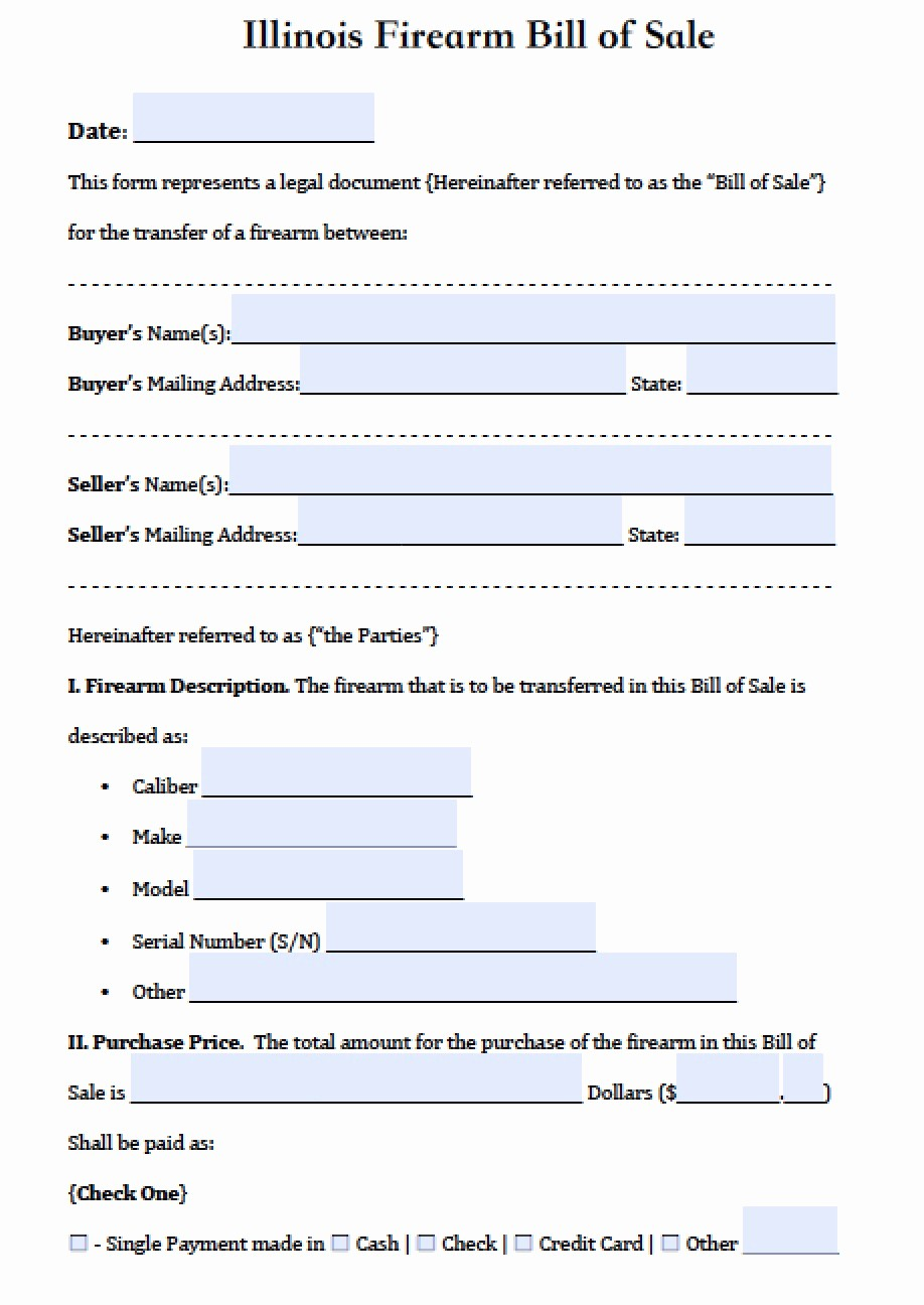 Bill Of Sale Illinois Pdf Best Of Free Illinois Firearm Gun Bill Of Sale form Pdf