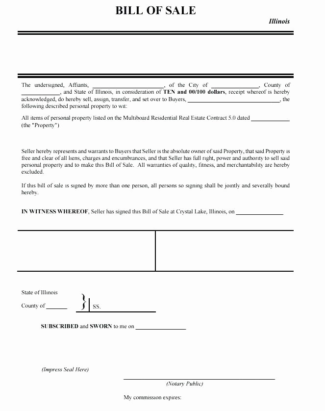 Bill Of Sale Illinois Pdf Best Of Receipt Sale form Automobile Bill Template Sample