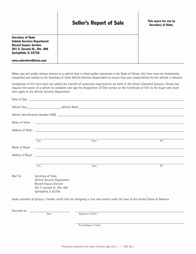 Bill Of Sale Illinois Pdf New Free Illinois Vehicle Sellers Report Of Sale form