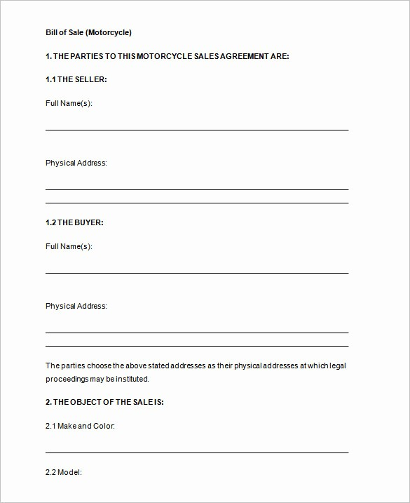 Bill Of Sale Motorcycle Template New Bill Of Sale Template 44 Free Word Excel Pdf