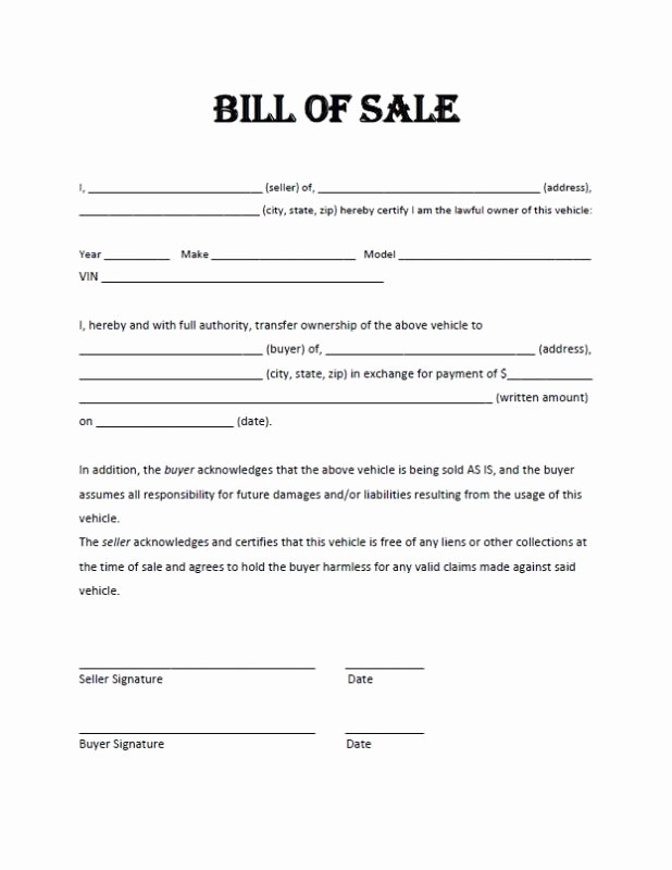 Bill Of Sale Motorcycle Template New Motorcycle Bill Sale Pdf