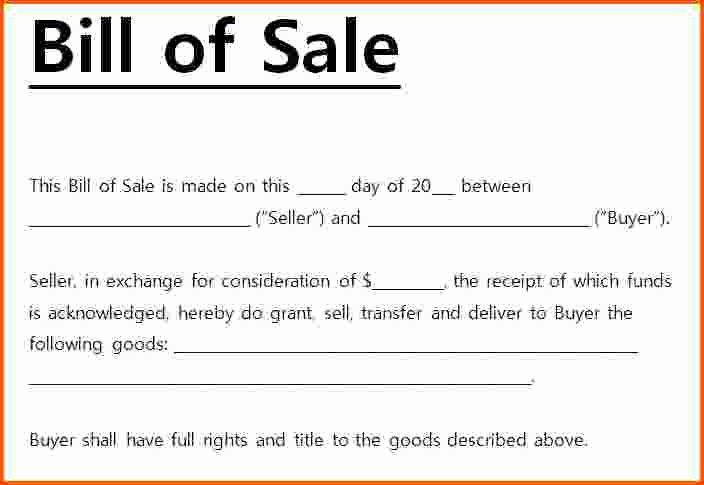 Bill Of Sale Motorcycle Template Unique Bill Of Sale for