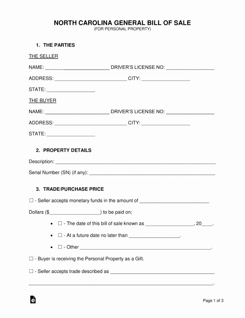 Bill Of Sale Nc Car Beautiful Free north Carolina General Bill Of Sale form Word