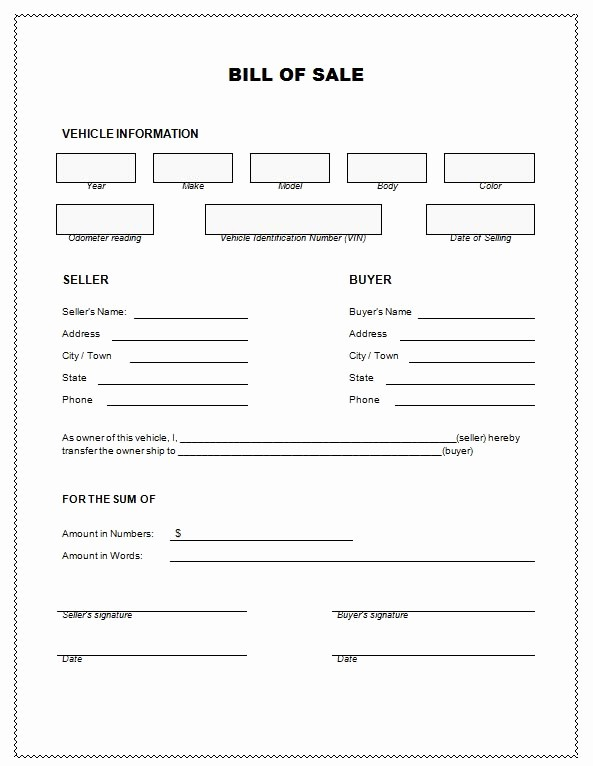 Bill Of Sale Nc Car Lovely Vehicle Bill Sale Template