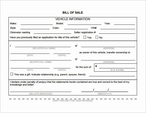 Bill Of Sale Nc Car Luxury Vehicle Bill Sale Template