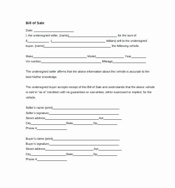 Bill Of Sale Nc Car New Bill Sale Template Pdf Blank Bill Sale Template
