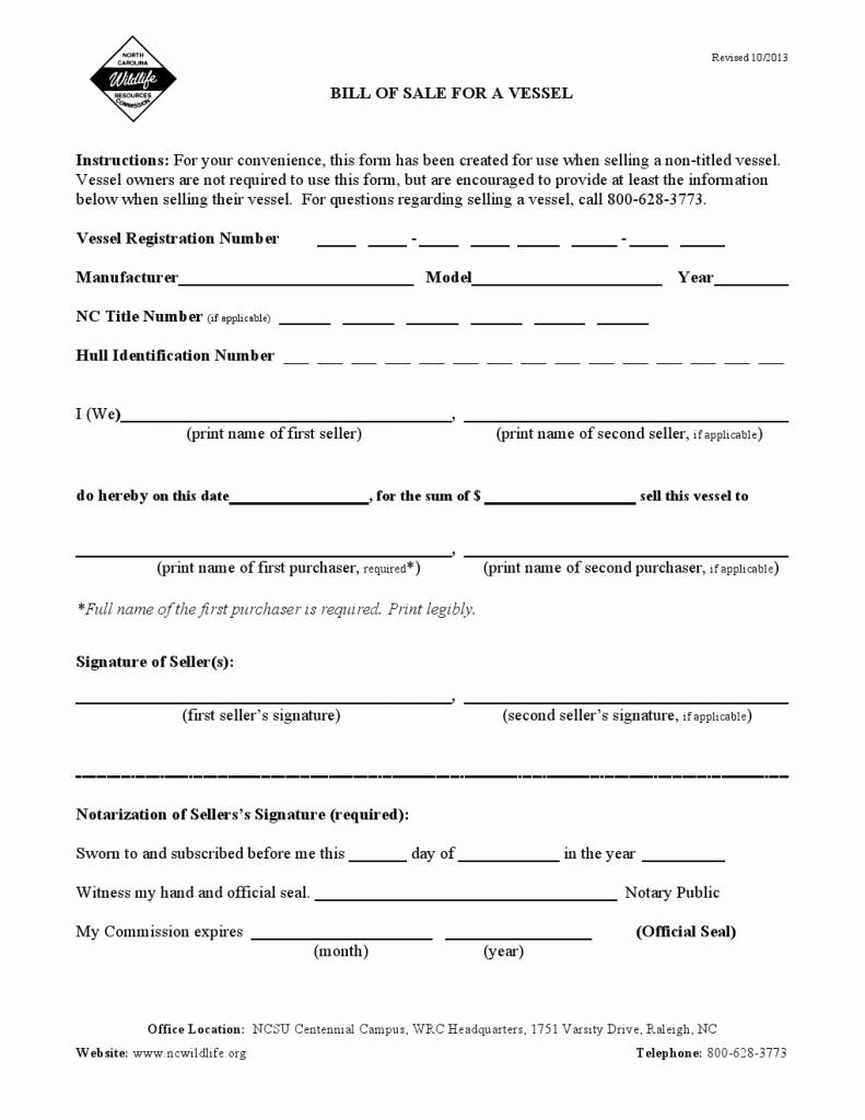 Bill Of Sale Nc Car New Free north Carolina Vessel Bill Of Sale form Download