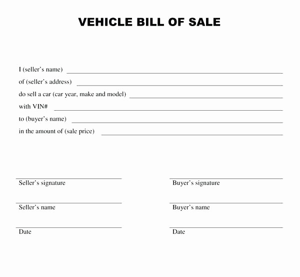 Bill Of Sale Nc Template New Free Bill Sale Template for Car Printable Travel