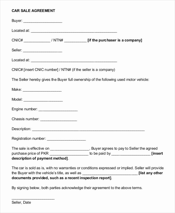 Bill Of Sale Payment Agreement Awesome Vehicle Payment Contract Template Auto Car Sale Agreement