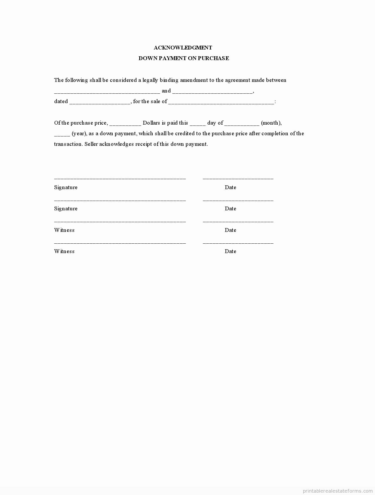 Bill Of Sale Payment Agreement Fresh Sample Printable Acknowledgment Down Payment On Purchase