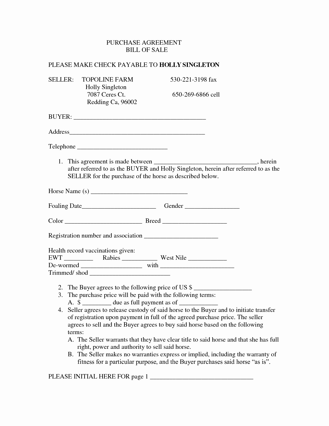 Bill Of Sale Payment Agreement Lovely 10 Best Of Equine Purchase and Sales Agreement