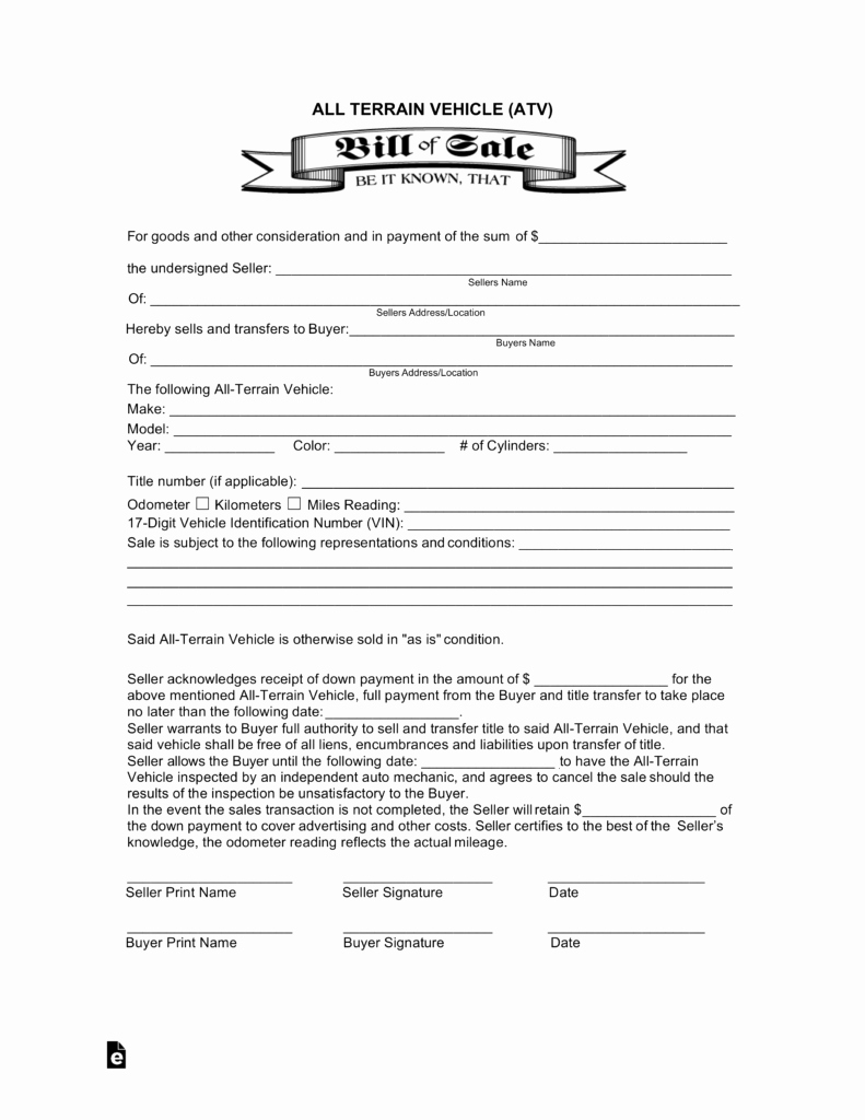Bill Of Sale Print Off Awesome All Terrain Vehicle atv Bill Of Sale form
