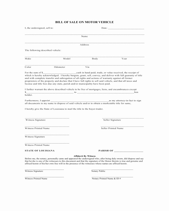 Bill Of Sale Print Off Lovely Bill Of Sale On Motor Vehicle Louisiana Edit Fill