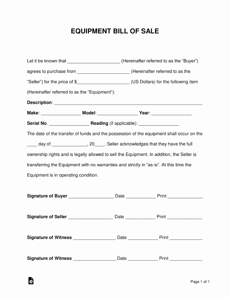 Bill Of Sale Print Off Lovely Free Equipment Bill Of Sale form Word Pdf