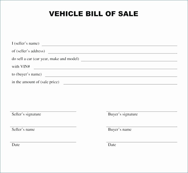 Bill Of Sale Print Off Luxury Simple Bill Sale for Car Template Vehicle Free Sales