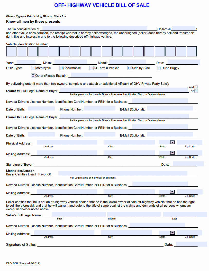 Bill Of Sale Print Off New Free Nevada F Highway Vehicle Bill Of Sale Download