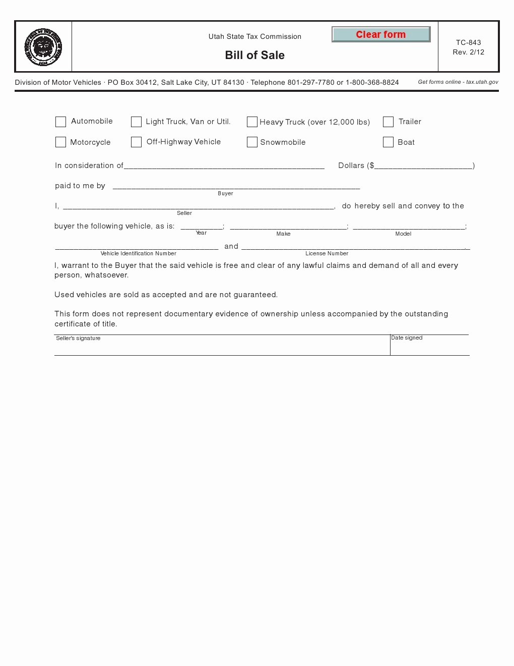 Bill Of Sale Print Off New Free Utah Vehicle Bill Of Sale form Tc 843 Download Pdf