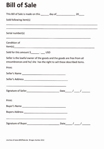 Bill Of Sale Printable Document Inspirational Free Printable Rv Bill Of Sale form form Generic