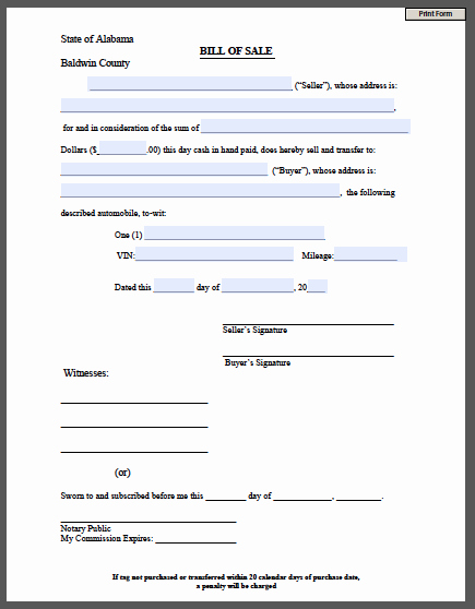 Bill Of Sale Printable Document Inspirational Printable Bill Of Sale form Free Fillable Pdf forms