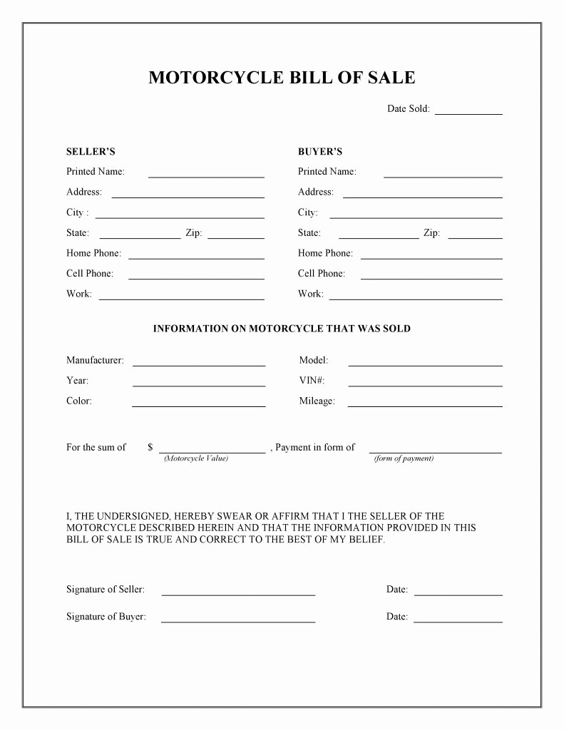Bill Of Sale Printable Document Lovely Free Motorcycle Bill Of Sale form Pdf Word