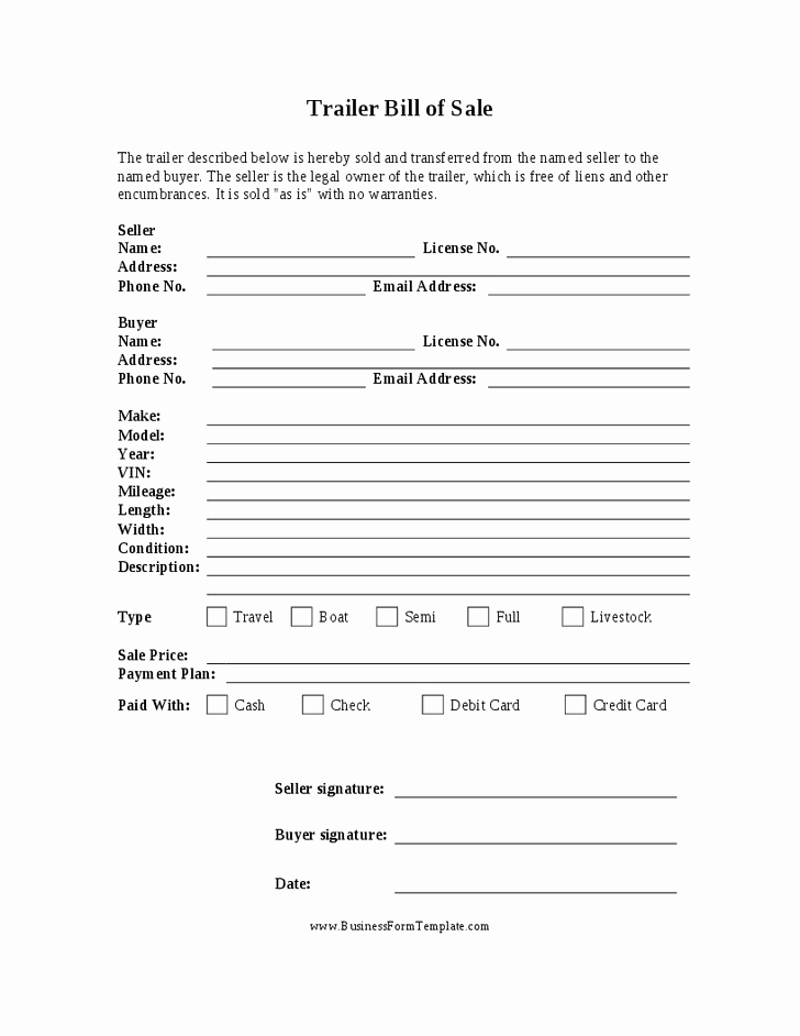 Bill Of Sale Printable Free Inspirational Free Printable Camper Bill Of Sale form Free form Generic
