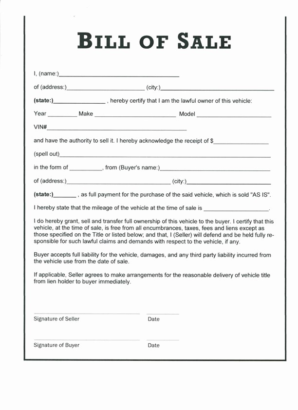 Bill Of Sale Printable Free Lovely Free Printable Bill Of Sale Templates form Generic