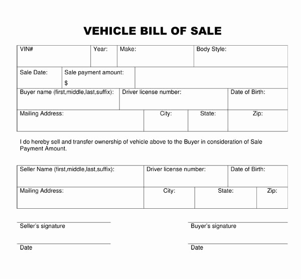 Bill Of Sale Printable Template Lovely Bill Of Sale form Template