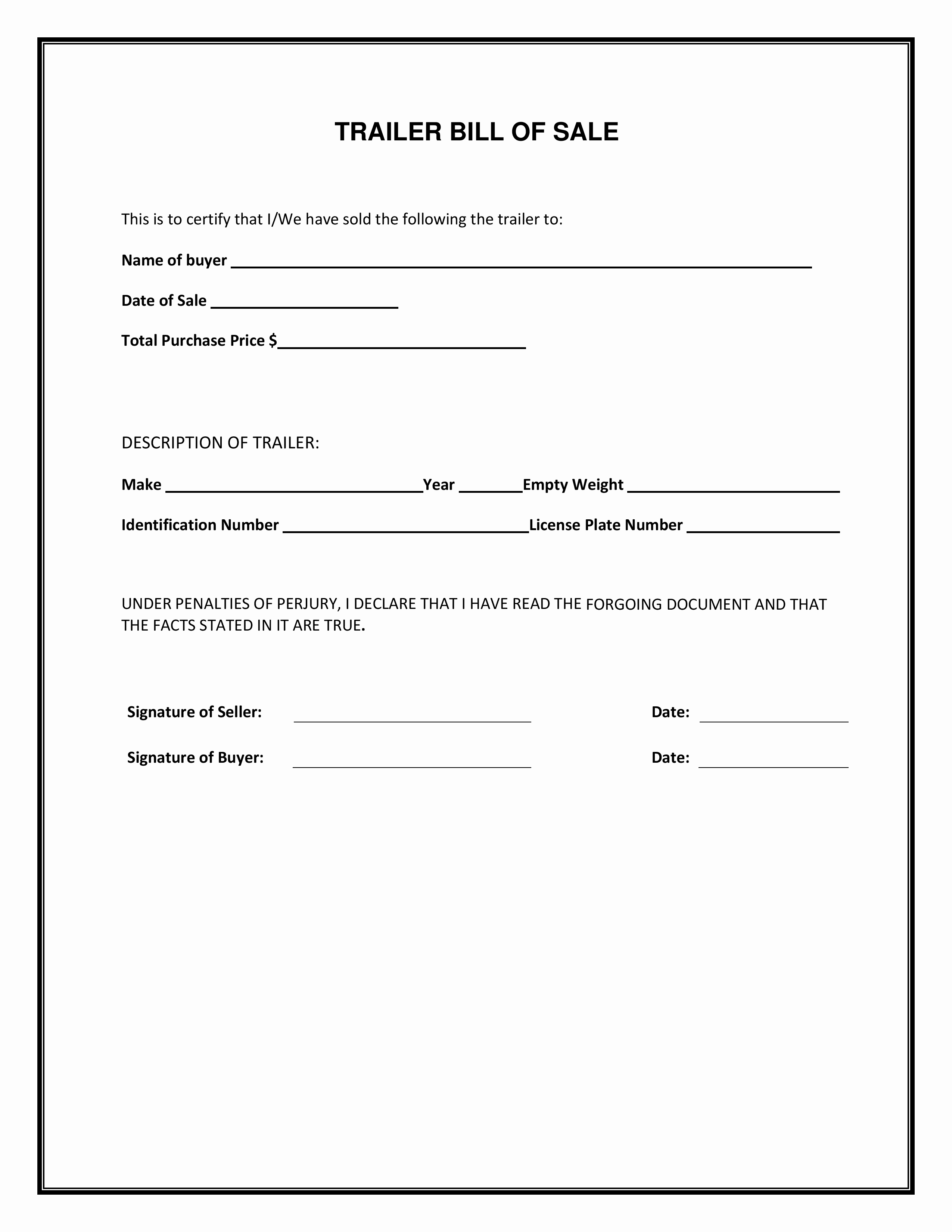Bill Of Sale Printable Version Beautiful Free Bill Sale forms Pdf Template form Download Trailer