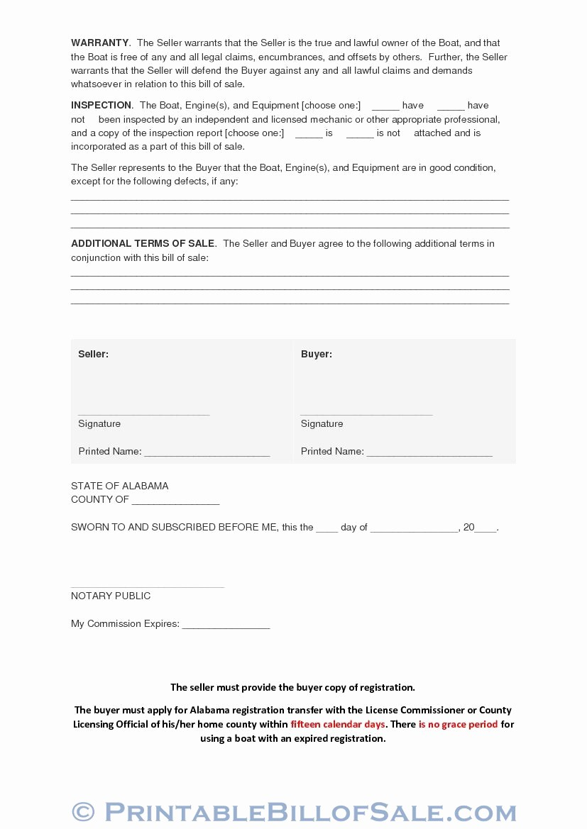 Bill Of Sale Printable Version Best Of Free Alabama Bill Sale Boat Vessel form