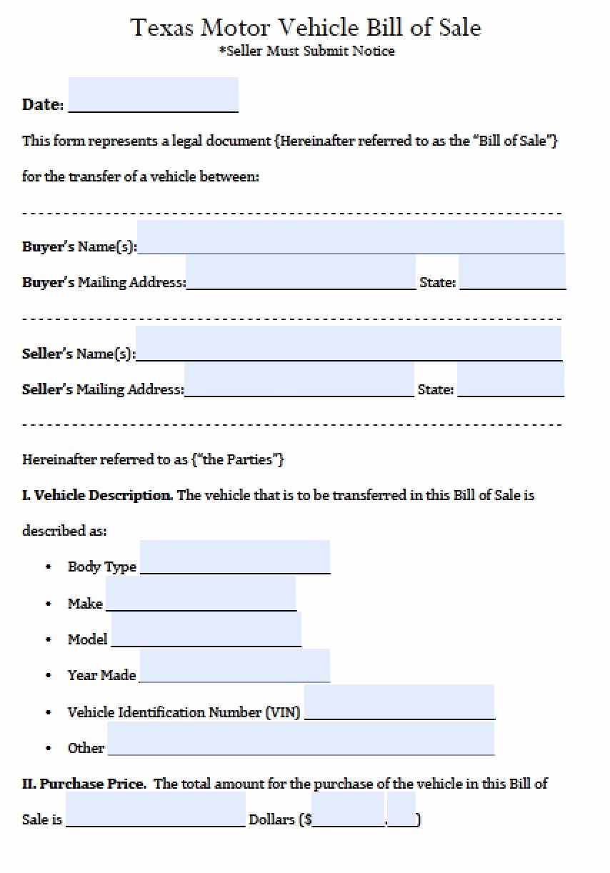 Bill Of Sale Printable Version New Texas Motor Vehicle Bill Of Sale
