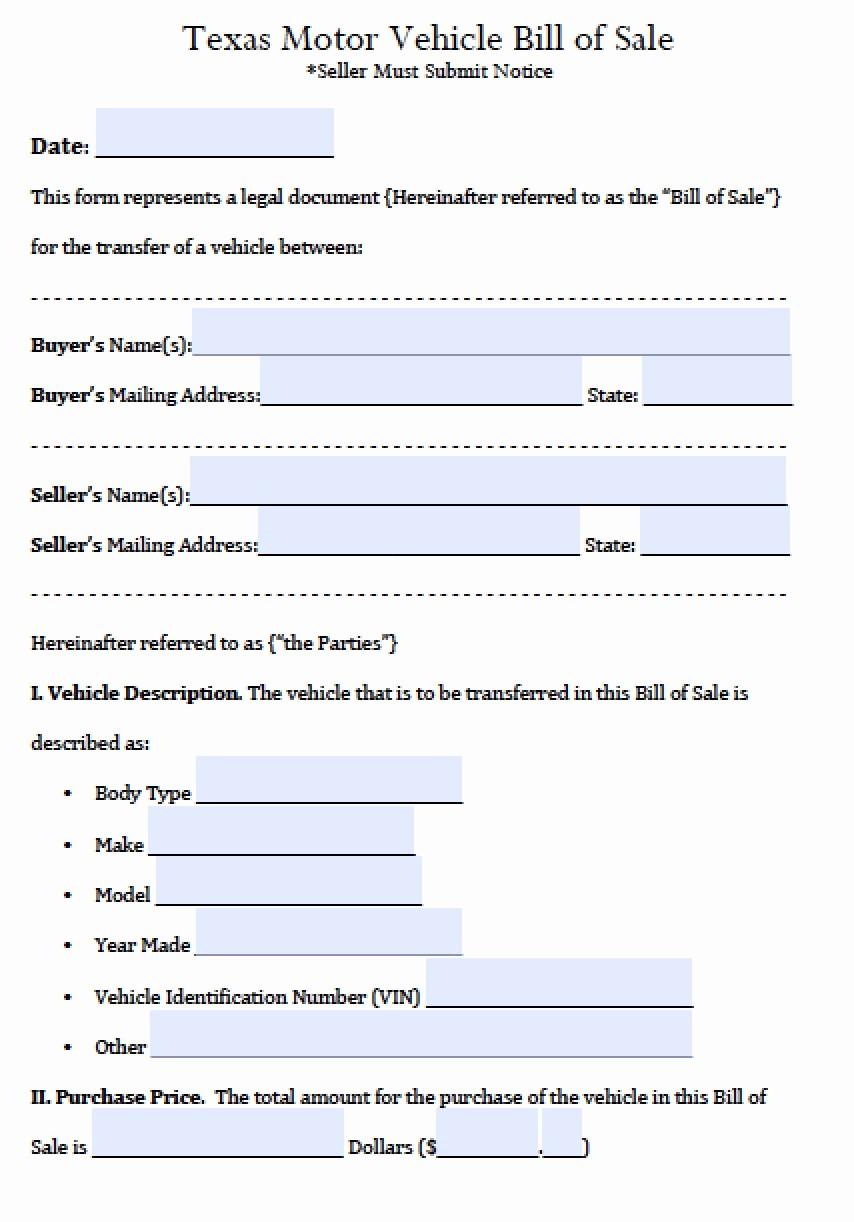 Bill Of Sale Printable Version New Texas Motor Vehicle Bill Of Sale