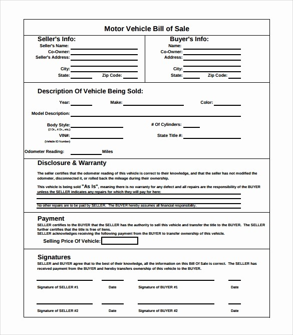 Bill Of Sale Sample Car Elegant 14 Sample Vehicle Bill Of Sales – Pdf Word