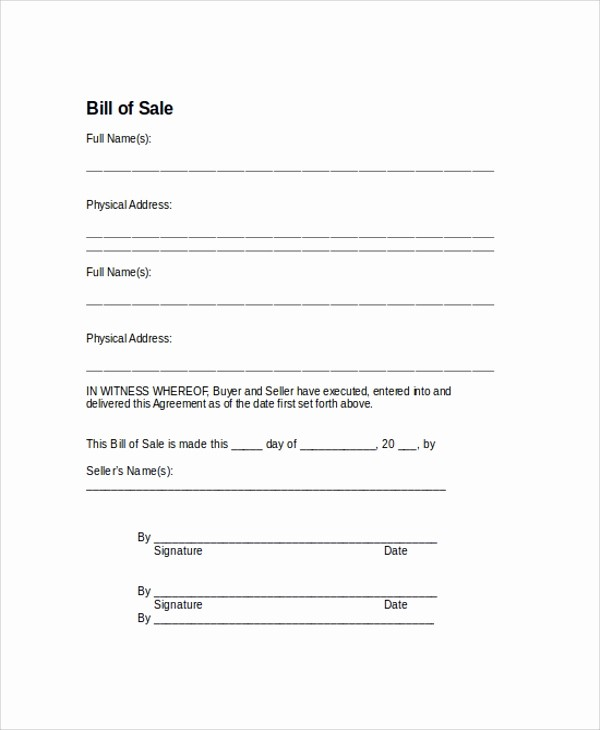 Bill Of Sale Sample Car Fresh 9 Sample Bill Of Sale forms