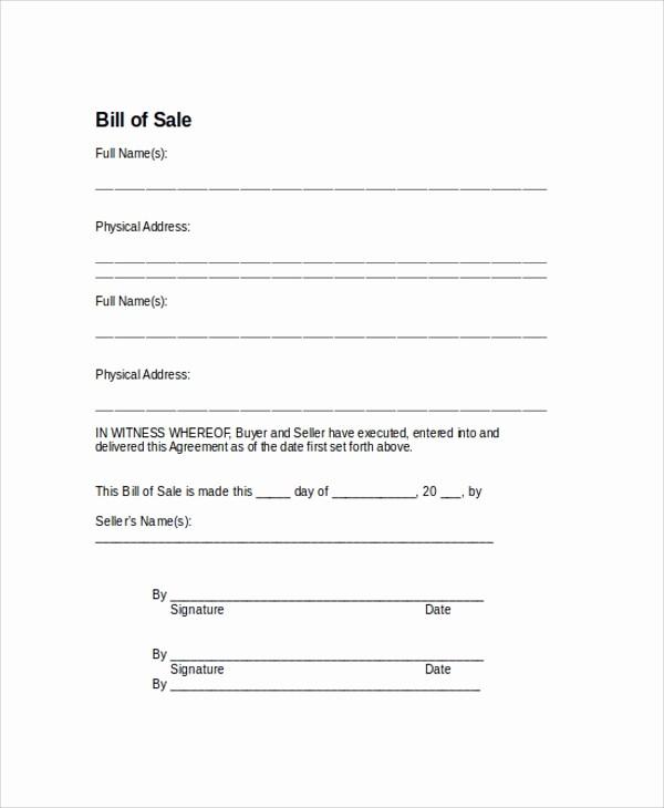 Bill Of Sale Sample Car Fresh 9 Sample Bill Of Sale forms
