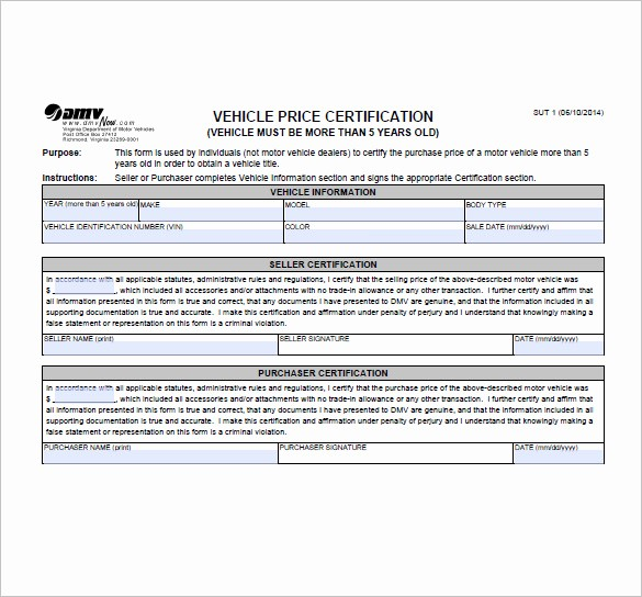 Bill Of Sale Sample Car New 8 Vehicle Bill Of Sale Free Sample Example format