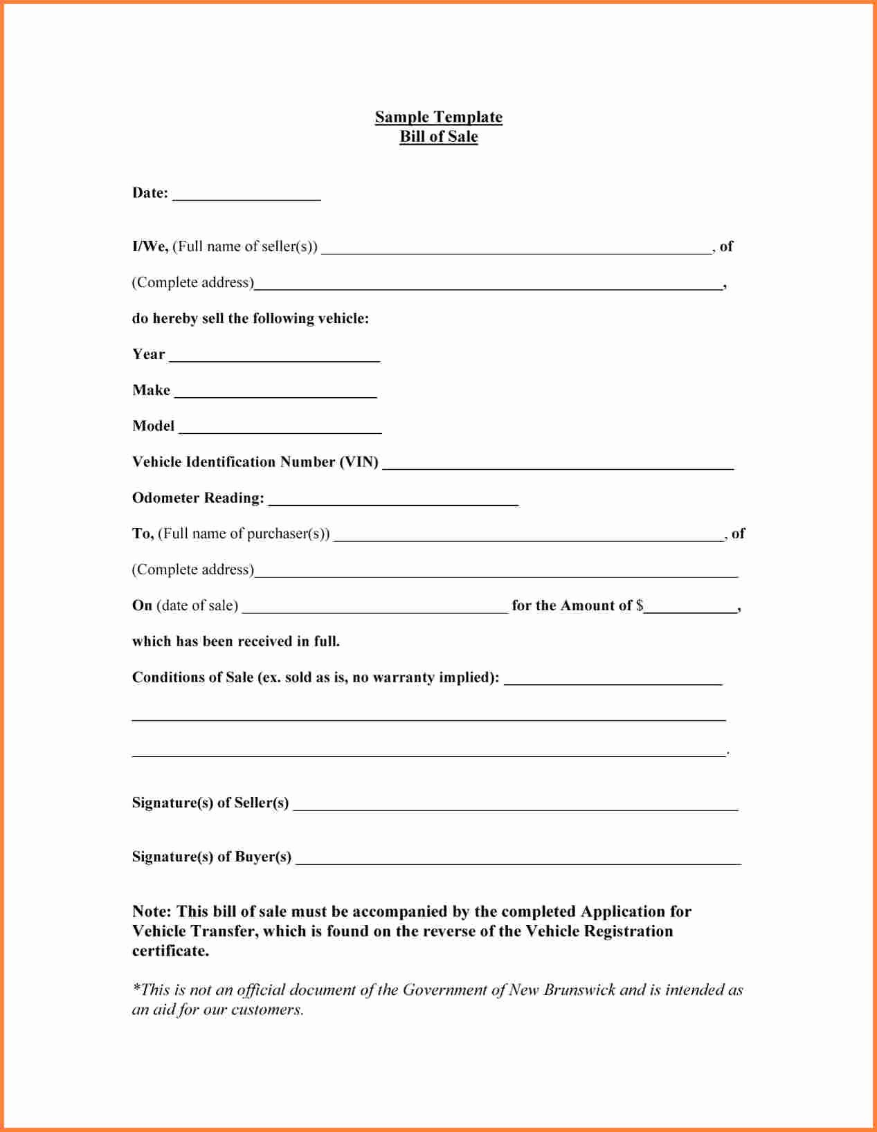 Bill Of Sale Sample Car New Sample Bill Of Sale form for Car Printable