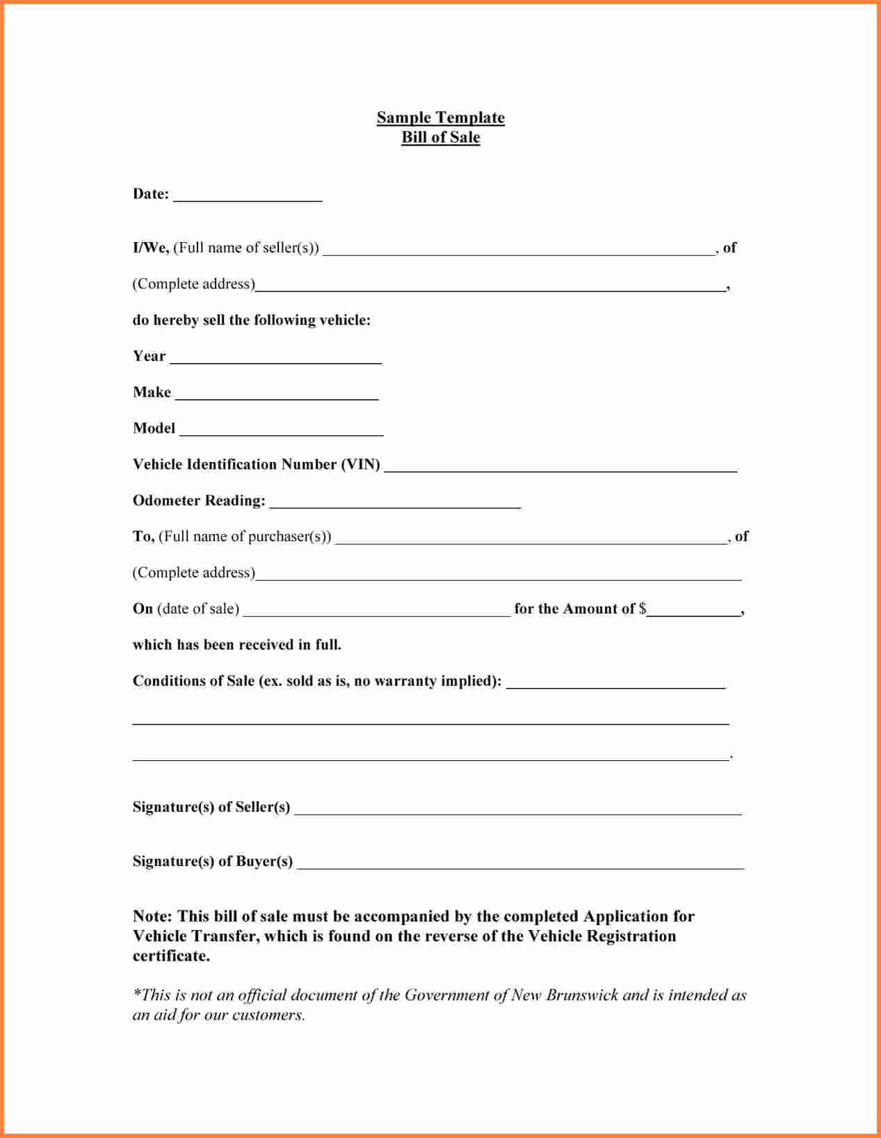Bill Of Sale Sample Car New Sample Bill Of Sale form for Car Printable