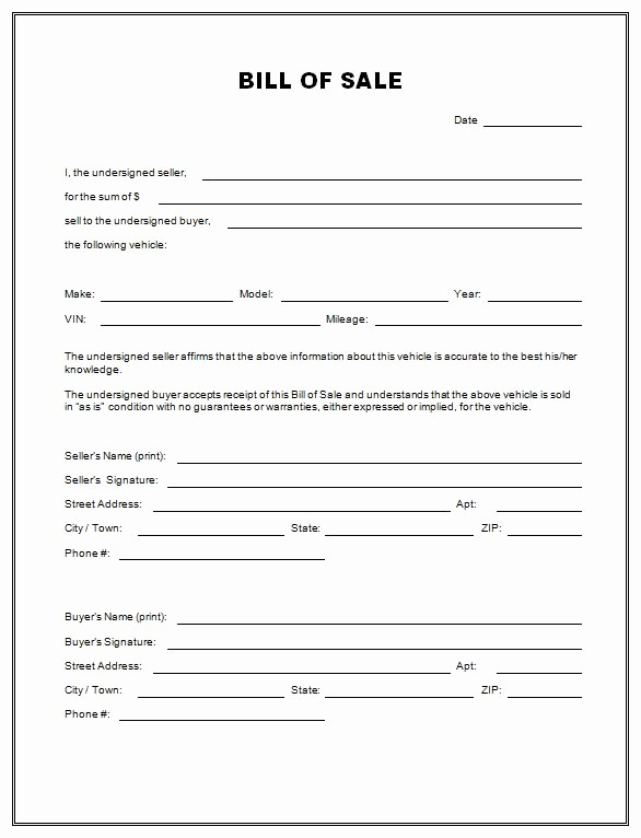 Bill Of Sale Sample form Fresh Free Printable Free Car Bill Of Sale Template form Generic