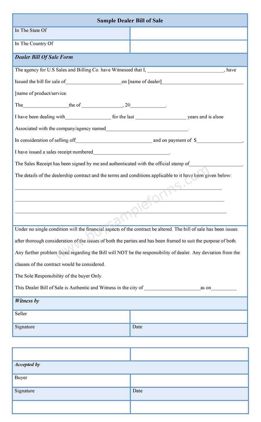 Bill Of Sale Sample Pdf Awesome Dealer Bill Of Sale form