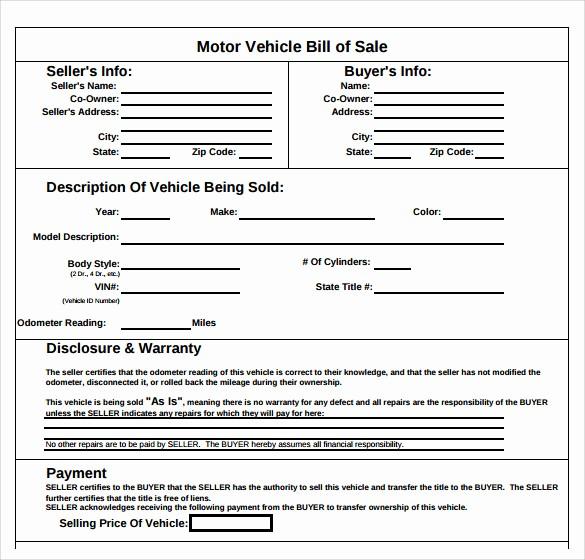 Bill Of Sale Sample Pdf Elegant 8 Sample Auto Bill Of Sales